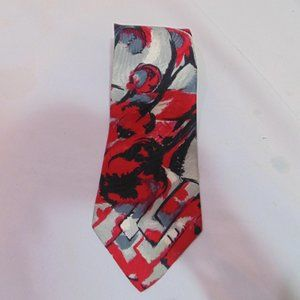 VALENTINO GIOVANNI TIE, SILK, RED, ABSTRACT